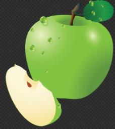 漂亮绿色苹果图片免抠png透明图层素材