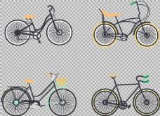 四种自行车插画免抠png透明图层素材