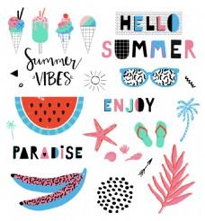 暑假卡通夏日装饰元素