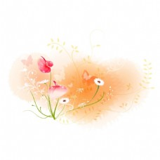 手绘花朵蝴蝶元素