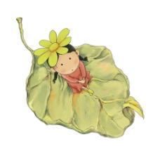手绘小女孩坐在树叶上png免扣元素