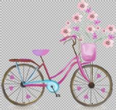 浪漫温馨自行车插画免抠png透明图层素材