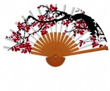梅花扇木纹中国风元素
