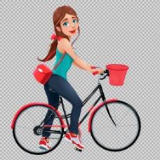 美女骑自行车插画免抠png透明图层素材