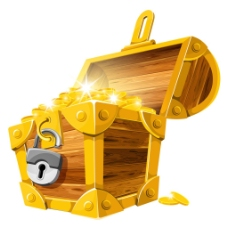 装满黄金的箱子PNG元素
