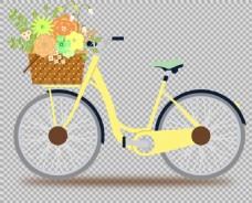 花篮黄色自行车插画免抠png透明图层素材