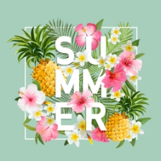 绿色夏日水果春夏花卉海报矢量