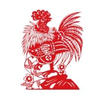 剪纸小鸡图案png元素