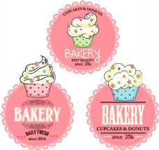 3款粉色纸杯蛋糕标签矢量素材