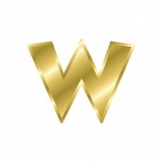 金色字母W元素