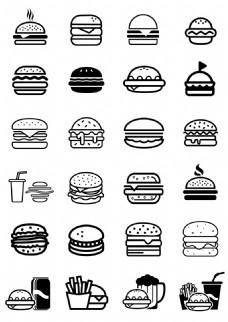 简约线性汉堡包图标icon小元素