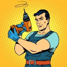 漫画超人装修工人插画