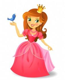 卡通公主和小鸟设计矢量素材