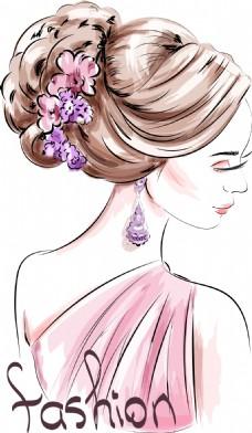 水彩绘时尚女人背景