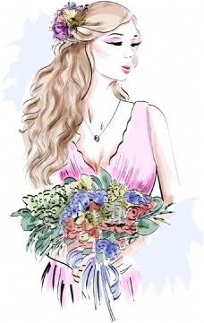 手拿捧花的新娘插画