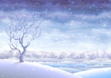 浪漫冬天里的雪景插画