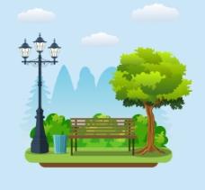 公园里的长椅插画