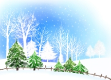 蓝色冬天雪花插画