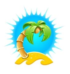 夏日沙滩上的椰树矢量插画