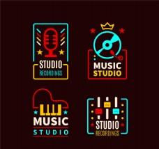 4款精美音乐工作室标志矢量图