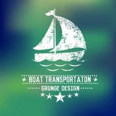 帆船夏日文字徽章LOGO设计矢量