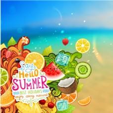 沙滩上的水果夏日矢量背景