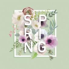 春天绿色夏花卉海报矢量