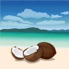 卡通椰子背景图案