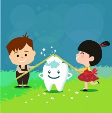 牙科广告孩子牙齿图标免费矢量