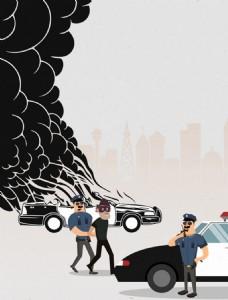 警察抓罪犯题材彩色卡通设计免费矢量