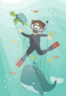 海洋潜水运动矢量背景