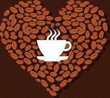 爱心咖啡豆矢量背景
