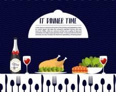 晚餐海报装饰餐具图标矢量