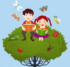 研究孩子背景彩色卡通设计昆虫图标免费矢量