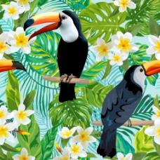 蓝色背景夏日鹦鹉火烈鸟花卉纹理背景矢量