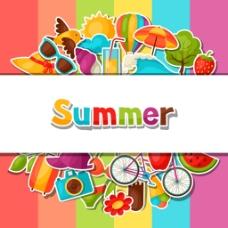 多彩线条夏日多彩矢量背景素材