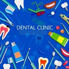 牙科背景各种彩色图标装饰免费矢量