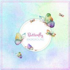水彩蝴蝶背景图