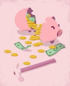 储蓄概念背景打破扑满的钱