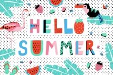 宣传海报创意夏日卡通插画时尚背景素材