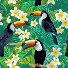 夏日鹦鹉花卉纹理背景矢量素材