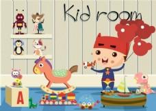 儿童玩具房间矢量背景
