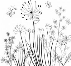 野生花卉场背景黑白素描免费矢量
