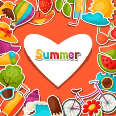 橘色爱心排版夏日多彩矢量背景素材