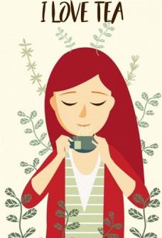 饮用茶广告女性图标动画设计免费矢量