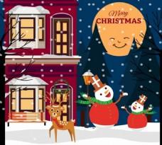 圣诞节海报风格的月亮雪人驯鹿图标装饰品