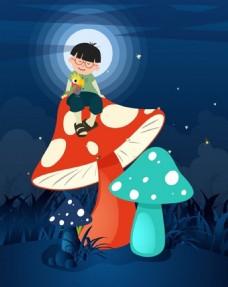小孩蘑菇矢量背景