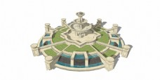 公园喷泉景观效果图