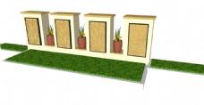 简约现代草坪景观墙skp模型