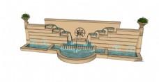 园林欧式喷泉景观墙skp模型